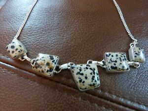 Sterling Silver Dalmatian Jaspers Necklace - 21 in.