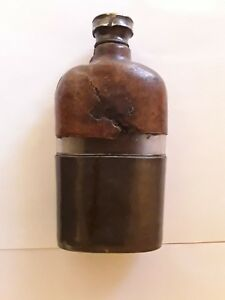Brandy, Whisky Flask . Leather. Pweter. Vintage Collectibles. Gift. Bar Supplies