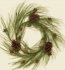 """LONG PINE NEEDLE 19"""" WINTER WREATH With LARGE PINECONES & RUSTY STARS"""