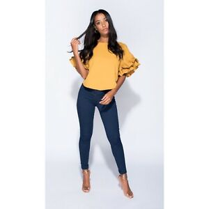 Pleat Ruffle Sleeve Top. Sizes 6-14. Available in black, mustard and rust.