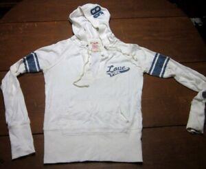 LOVE PINK beat-up hoodie Victoria's Secret med hooded sweatshirt w/ stripes