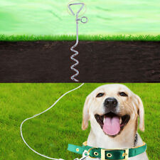 Spiral Anchor Cork Screw Dog Tie Out Stake Lead Chain Outdoor CampingDD