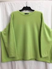 Eskandar O/S 1x 2x Lime Green 100% Cashmere Boxy Crew Neck Sweater $1690
