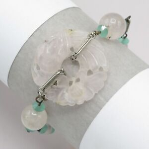 Vtg Chinese Silver Tone Carved Rose Quartz Shou Vase Charm Bracelet