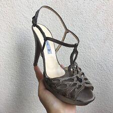 ALBANO sandalo gioiello marrone talpa raso Strass plateau Taupe 39 Nuovo