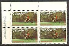 Canada #614, 1973 15c RCMP Centenary - Ride on Horseback, PB4 Unused NH