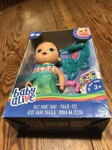 Baby Alive Face Paint Fairy Brunette Hair Doll New Imperfect Box