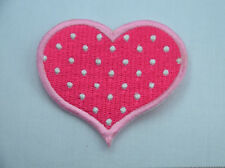 PINK POLKA DOT LOVE HEART 6cm Embroidered Sew On Cloth Patch Badge APPLIQUE