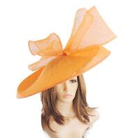 Orange Large Ascot Hat for Weddings, Ascot, Derby B7