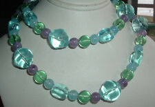 VINTAGE LIGHT BLUE GREEN LAVENDER LUCITE BEAD NECKLACE STRAND IN GIFT BOX