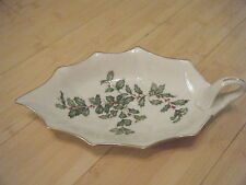 Lenox Holly Berry Christmas Leaf Dish W/Handle, Lovely