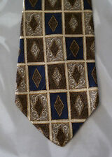 Mark Alexander Silk Tie Gold Tan Blue Diamond NIB t709
