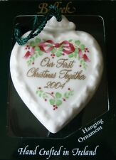 Belleek Porcelain China 2004 OUR FIRST CHRISTMAS TOGETHER Heart Ornament NIB