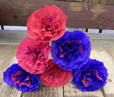 """Mexican Crepe Paper Flowers Set of 6- """"We Make Special Orders"""" Purple/Red"""