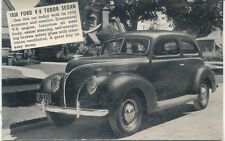 Ford V8 Tudor Sedan 1938 Salesmans Card Period Postcard