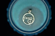 SILVER PLATED OPEN DESIGN PEACE & PEACE SIGN ROUND TAG PENDANT CHARM #19415