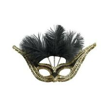 Black Gran Gala Domino Eye Mask With Feathers Masquerade Fancy Dress P1620