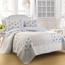 Laura Ashley : Twin Quilt : Seraphina : Blue White Floral : NEW : Free Shipping