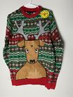 Christmas Sweater Xmas Ugly Sweater with Reindeer Long Sleeve