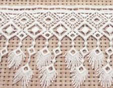 White Embroidered 9.2cm Trim Tassel Fringe DIY Lace Craft Price per 30cm Sewing