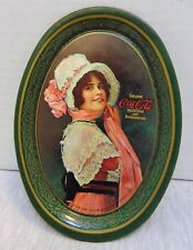"""Vintage 1970s Oval Coca Cola Lady Tin Tip Tray 1914 Small 6.2"""" x 4.4"""""""