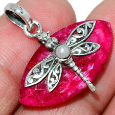 Dragonfly - Ruby & Pearl 925 Sterling Silver Pendant Jewelry AP182596