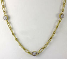 Gregg Ruth diamond necklace 18K yellow gold round brilliant bezel cluster .42CT!