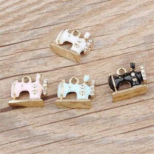 5x Sewing Machine Enamel Alloy Charm Pendant 16*13MM DIY Earrings/Bracelet Craft