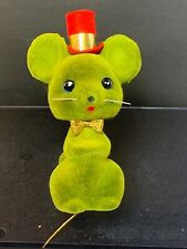 Vintage Christmas Flocked Green Mouse Figurine With Red Hat~ Japan