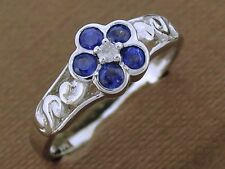 sR137 Solid 9K White Gold Natural Sapphire & Diamond Blossom Ring scroll size N