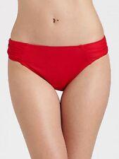Bikini Bottom La Blanca Swimwear Sz 16 Solid Red Shirred Waist Beach Pool Swim W