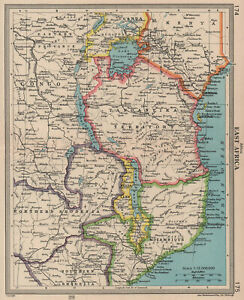 East Africa Tanganyika Tanzania Rhodesia Mozambique. BARTHOLOMEW 1949 old map