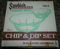 VTG Anchor Hocking Chip & Dip Bowls Set Mid Century Swedish Modern Avocado Green