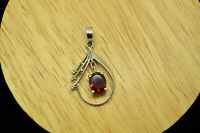 925 STERLING SILVER FRAMED DANGLING RED GARNET PENDANT CHARM BEAD ACCENTS #A5610