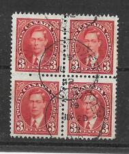 SG 359 KGVI Canada 3c Block Of Four Used, Vancouver CDS