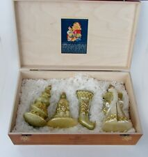 KOMOZJA MOSTOWSKI FAMILY POLISH Glass GOLD CHRISTMAS ORNAMENTS 4 peces NEW