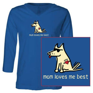 Teddy the Dog T Shirt Mom Loves Me Best Ladies 3/4 Sleeve V Neck Tee Mothers Day