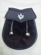 Boys Kilt Sporran Black Rabbit Fur Thistle/Child's Sporran Leather/Baby Sporrans