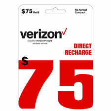 VERIZON Prepaid $75 Refill Top-Up Prepaid Card / DIRECT RECHARGE