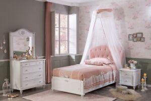 Kinderbett Mädchen 100x200 mit Stauraum Jugendbett Mädchenbett Rosa Romantic