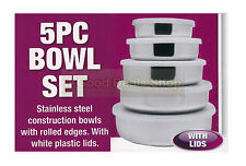 5PC Stainless Steel Food Container Set Crisper Storage Lunch Box Bowls With Lids