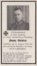 Sterbebild Deadcard Nachrichten Abteilung 12 August 1943 WH 2WK WW2