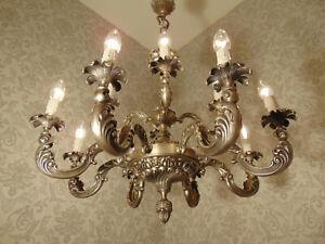 antik großer 12 Fl Kronleuchter Lüster Bronze Silber Barock Frankreich ca.1930