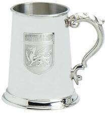 More details for pewter tankard 1pt welsh cymru dragon shield ornate handle engravable