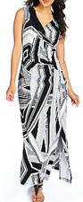 Kate & Mallory® Printed Knit Sleeveless Faux Wrap Maxi Dress Black White Sz 1X