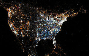 Framed Print - Night Lights of America from Space (USA ISS Picture Earth Moon)