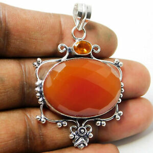 Faceted Red Onyx 925 Sterling Silver Plated Handmade Jewelry Pendant 14 Gm-P88