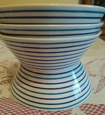 "4 Crate & Barrel Blue Stripe Cereal /Soup Bowl 7""w x 2-1/2 ht"