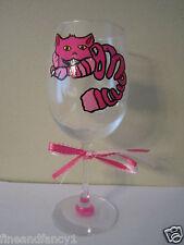 Hand Painted Wine Glass - Cheshire Cat from Alice in Wonderand