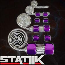 PURPLE STAINLESS STEEL ENGINE HOSE DRESS UP KIT FOR RADIATOR/VACUUM/FUEL/OIL S1